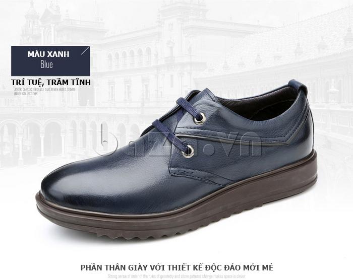 Giày da nam Olunpo QZK1404 màu xanh trí tuệ trầm tĩnh