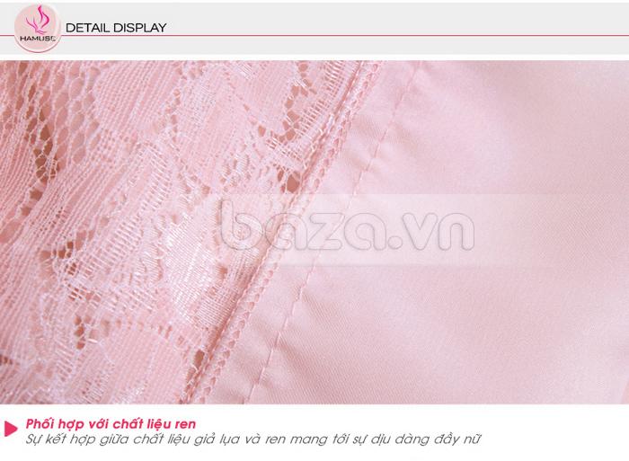 bộ đồ ngủ áo choàng nữ Hamuse có tay - chất liệu giả lụa