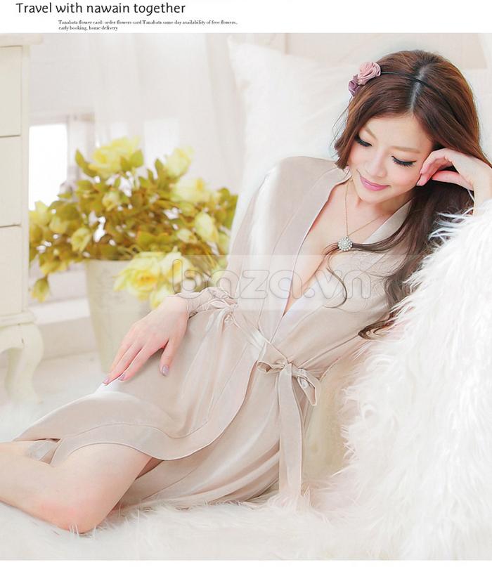 bộ đồ ngủ áo choàng nữ Hamuse có tay - Cho yêu thương nông đượm