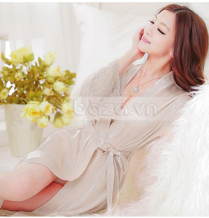 bộ đồ ngủ áo choàng nữ Hamuse có tay - tôn vinh đường nét quyến rũ