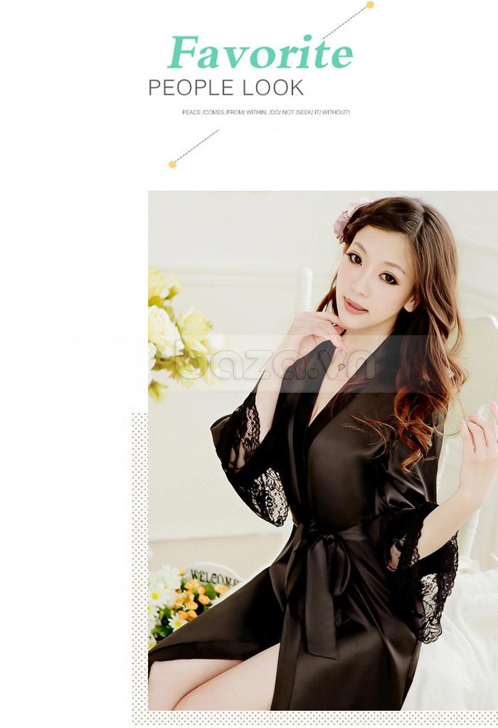 bộ đồ ngủ áo choàng nữ Hamuse có tay - cho yêu thương đong đầy