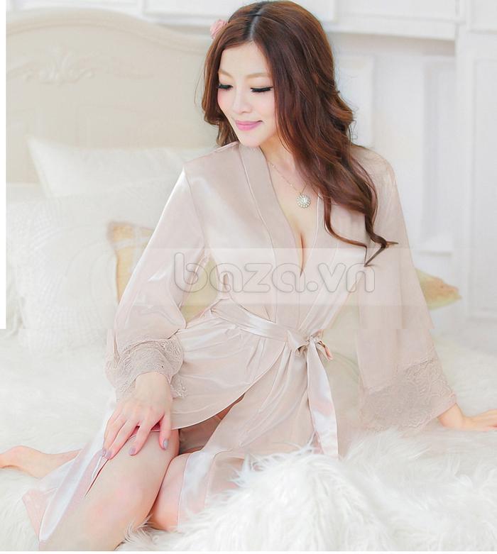 bộ đồ ngủ áo choàng nữ Hamuse có tay - váy ngủ gợi cảm