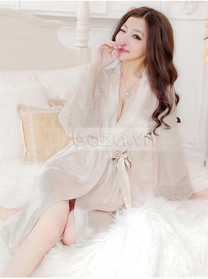 bộ đồ ngủ áo choàng nữ Hamuse có tay - gợi cảm