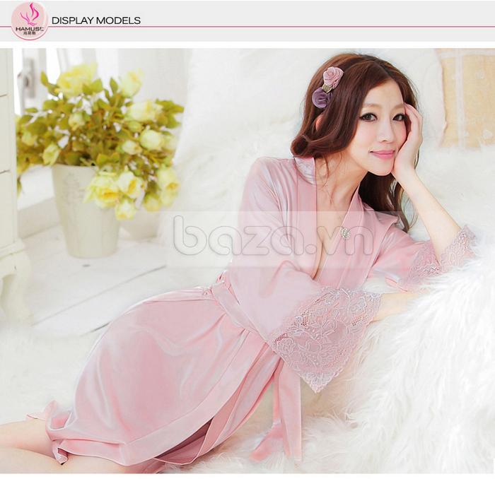 bộ đồ ngủ áo choàng nữ Hamuse có tay - kích thích ham muốn
