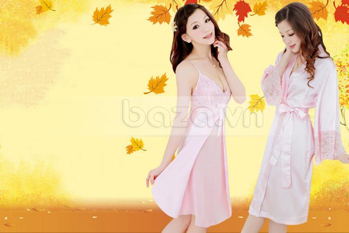 bộ đồ ngủ áo choàng nữ Hamuse có tay - hồng phấn quyến rũ