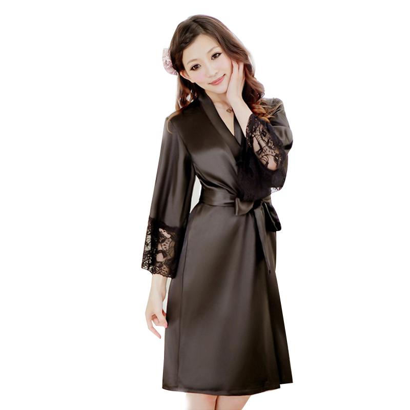 bộ đồ ngủ áo choàng nữ Hamuse có tay - ren đen quyến rũ