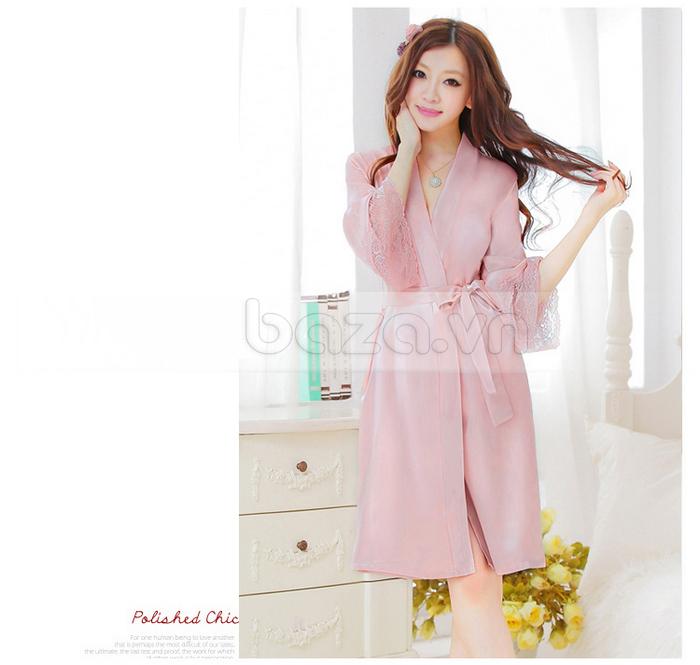 bộ đồ ngủ áo choàng nữ Hamuse có tay - áo ngủ cho 4 mùa