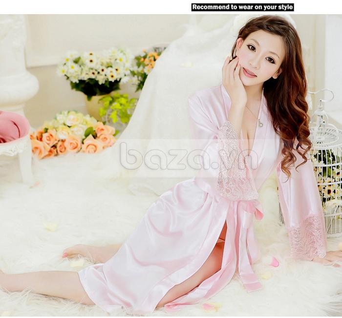 bộ đồ ngủ áo choàng nữ Hamuse có tay - tay ren quyến rũ