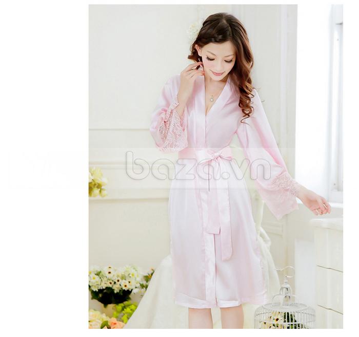 bộ đồ ngủ áo choàng nữ Hamuse có tay - yêu thương đong đầy