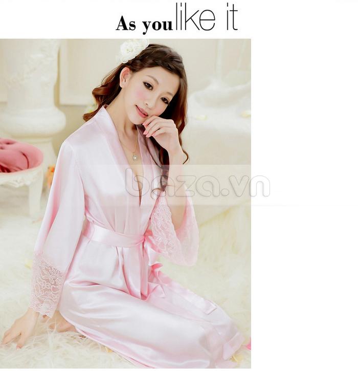 bộ đồ ngủ áo choàng nữ Hamuse có tay - đai buộc hấp dẫn