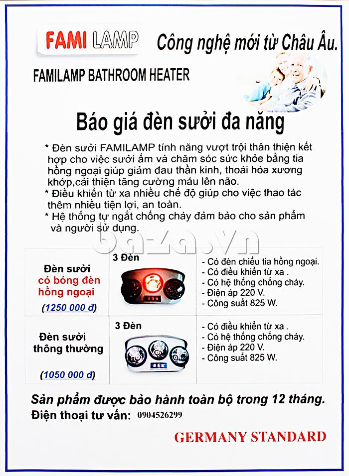 Đèn sưởi nhà tắm Fami có tia hồng ngoại tốt cho người già và trẻ nhỏ