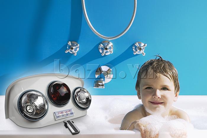 Đèn sưởi nhà tắm Fami có tia hồng ngoại cực tốt cho người già và trẻ em