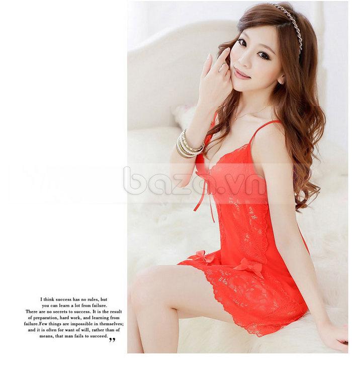 Bộ đồ ngủ sexy phong cách Nhật Bản - đỏ nồng nàn