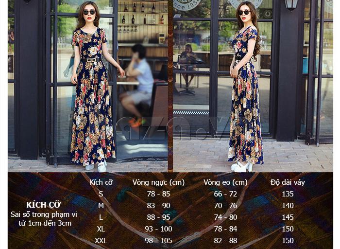 Váy maxi ren in hoa Jiumeixuehu  dáng dài