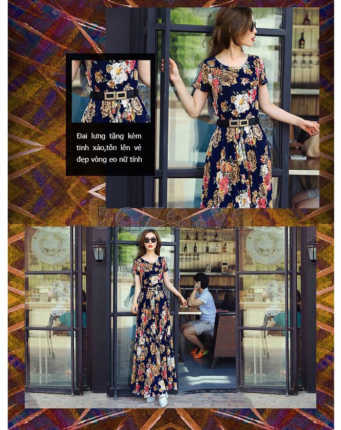 Váy maxi ren in hoa Jiumeixuehu