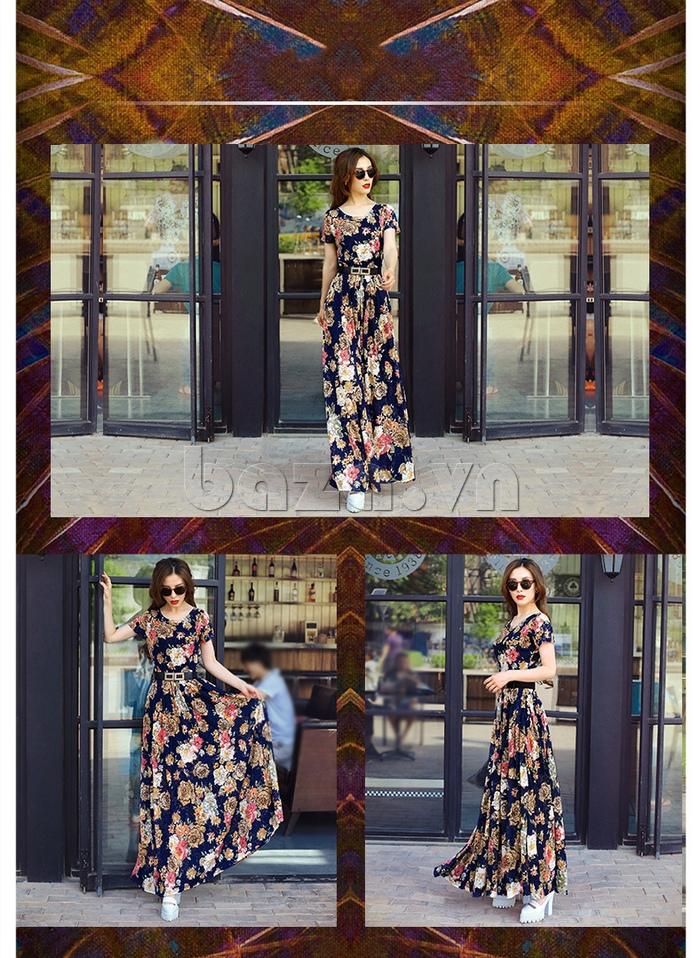 Váy maxi ren in hoa Jiumeixuehu  duyên dáng yêu kiều
