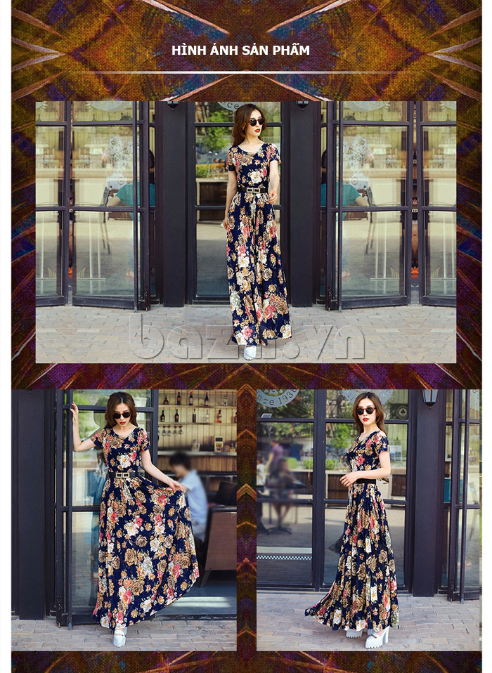Váy maxi ren in hoa Jiumeixuehu  thời trang