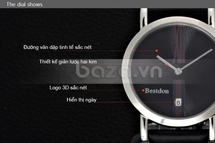 Đồng hồ nam siêu mỏng Bestdon BD9951AG có thiết kế giản lược 2 kim