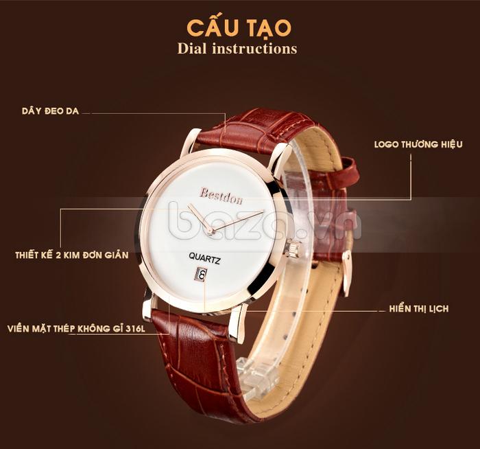 Đồng hồ nam siêu mỏng Bestdon BD9951AG dây đeo da