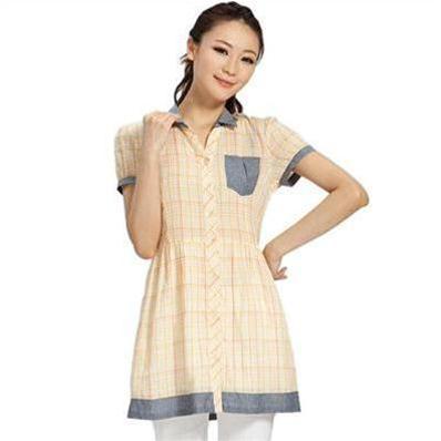 Áo váy Caro Nadine - áo sơ  mi dáng dài Hàn Quốc