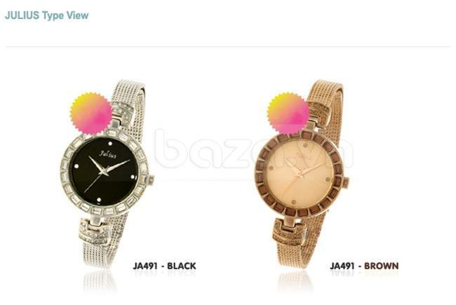 Đồng hồ nữ Julius JA491 phiên bản đen và nâu