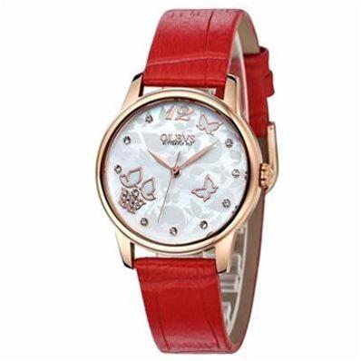 Đồng hồ nữ dây da Olves (Mặt trắng dây đỏ)
