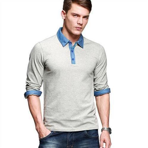 Áo Henley-shirt phối màu denim K-Jeans