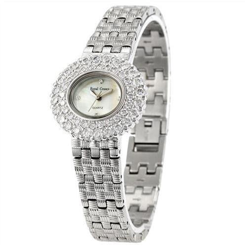 Đồng hồ nữ Royal Crown 3630 mặt đính 2 lớp pha lê thanh lịch