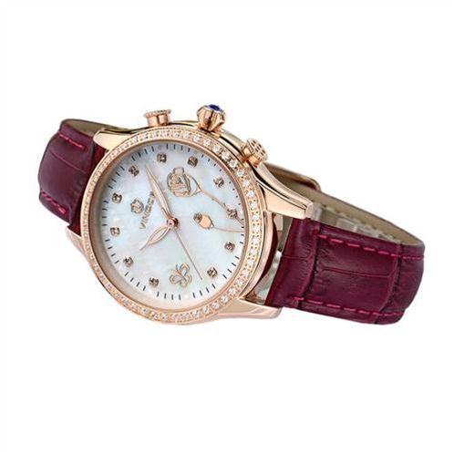 Đồng hồ nữ Vinoce V6276L dây da, viền đính đá sang trọng