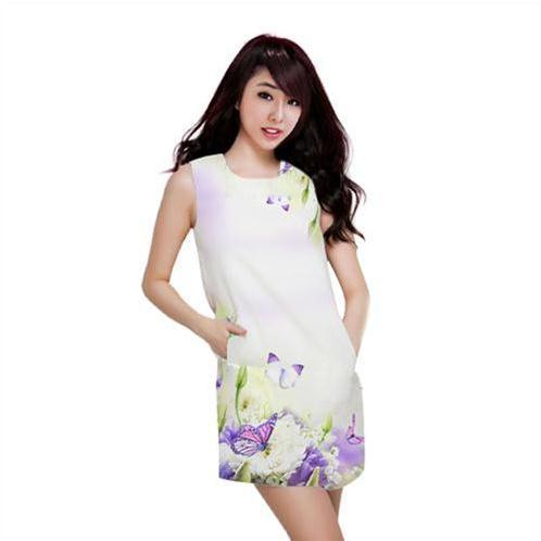 Váy suông họa tiết hoa bướm - váy đẹp cho bạn gái