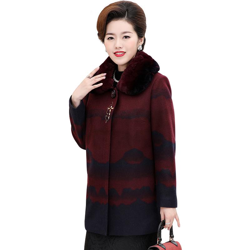 Áo khoác dạ trung niên dáng dài cổ lông họa tiết thủy mặc SMT
