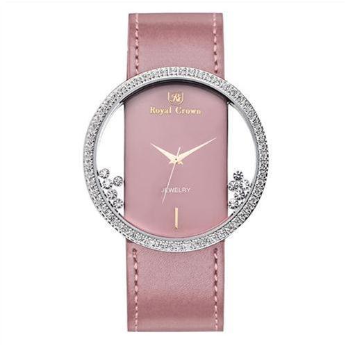 Đồng hồ nữ Royal Crown dây da mặt kính trong suốt