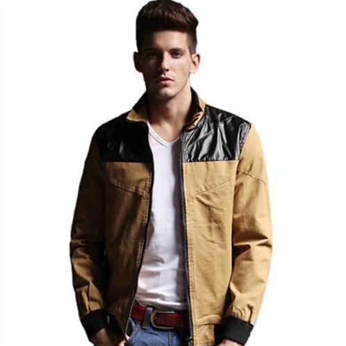 Jacket nam dáng ngắn phối da No1Dara