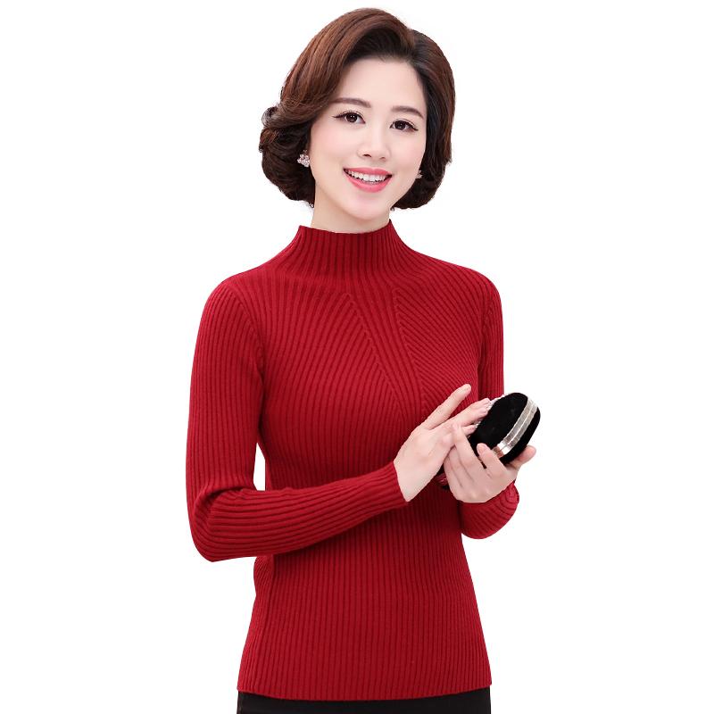 Áo len nữ dài tay dệt kim cổ lọ thấp vân sọc SMT
