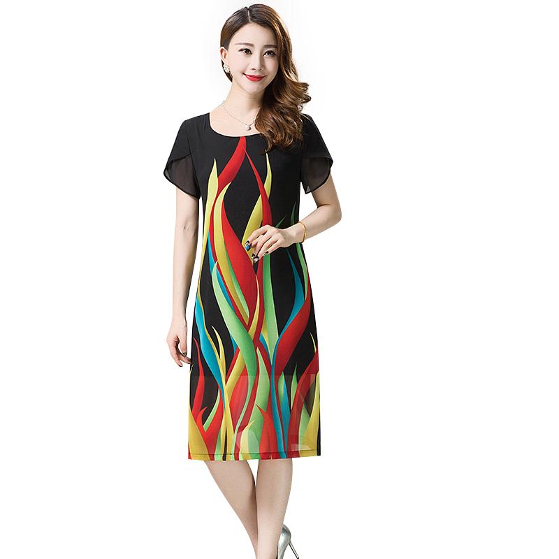 Váy lụa tay cánh tiên in họa tiết YNAL