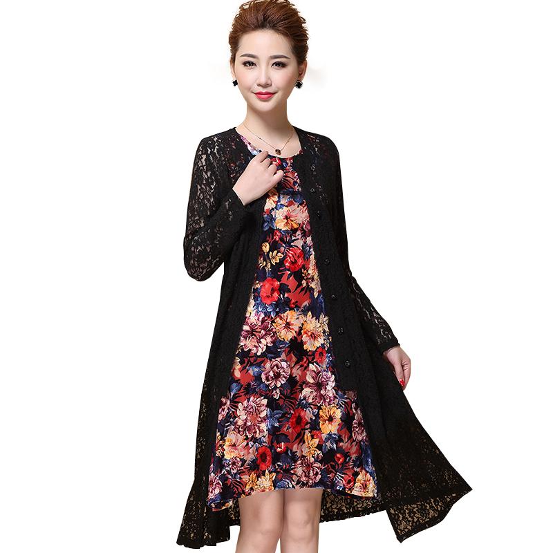 Đầm in hoa kèm áo khoác ren dáng dài QIZ
