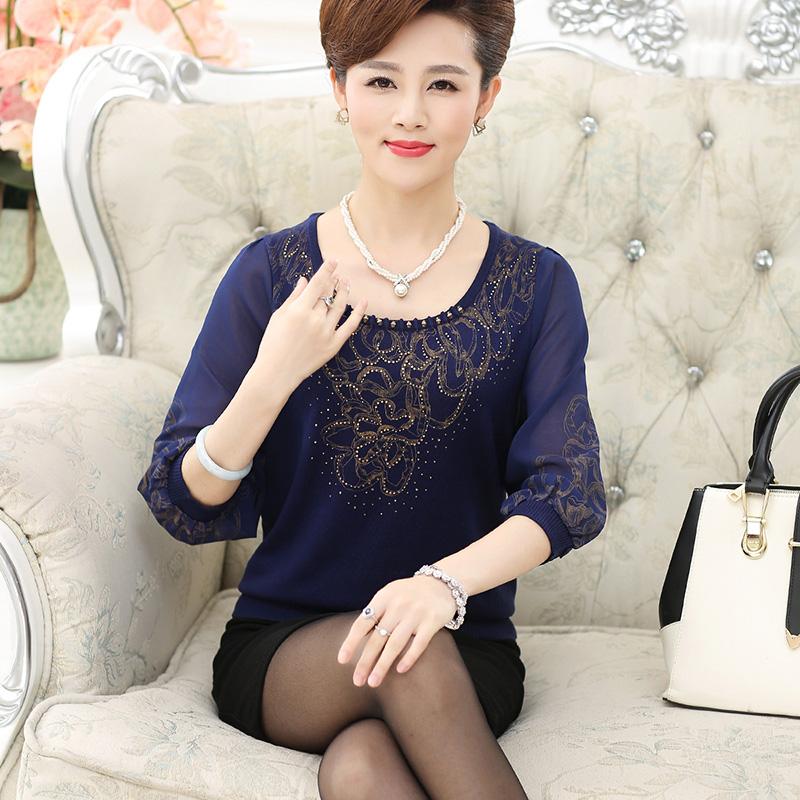 Áo len nữ cổ tròn in hoa tay voan SMT