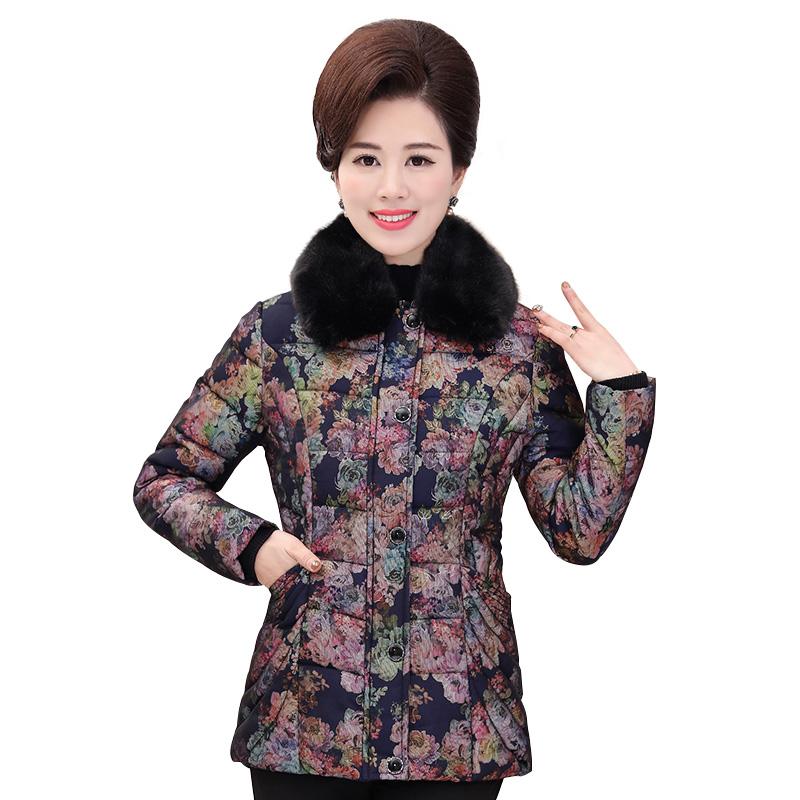 Áo phao nữ trung niên cổ lông in hoa 3D SMT