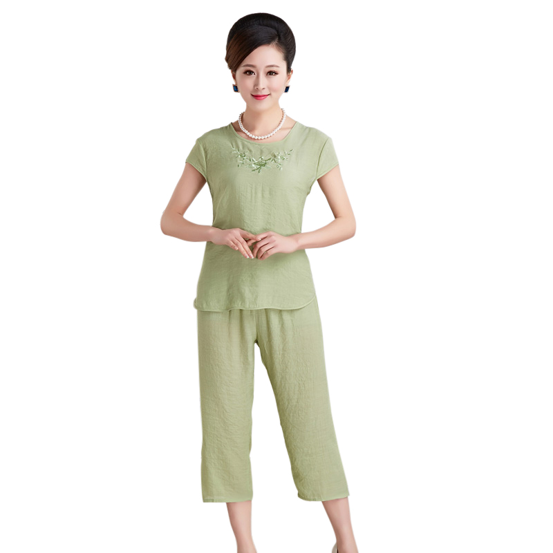 Bộ lửng nữ thêu hoa trung niên Xiru (gồm áo cộc tay, quần lửng)