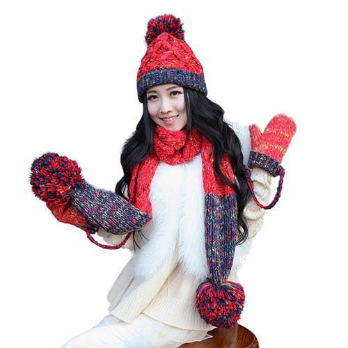 Combo mũ, khăn và găng tay len cute cho bạn gái