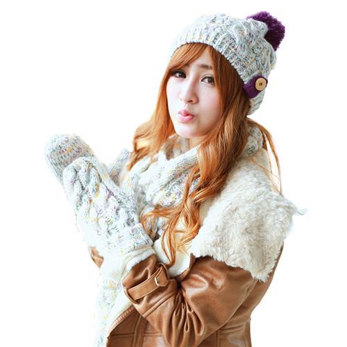 Combo 3 sản phẩm Dorain nữ: Mũ, khăn và găng tay len