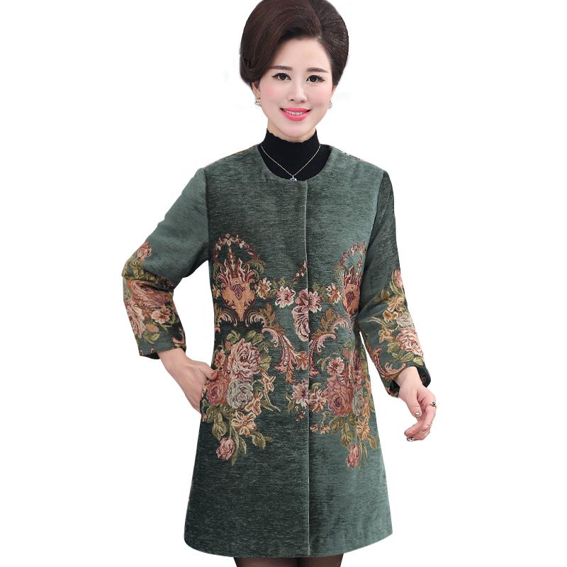 Áo khoác dạ dáng dài cổ tròn in hoa mẫu đơn hoàng gia SMT