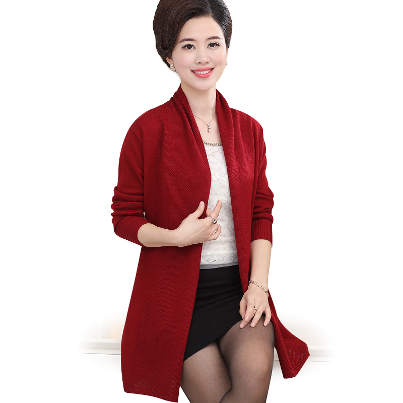 Áo khoác len dáng dài cardigan nữ trung niên SMT