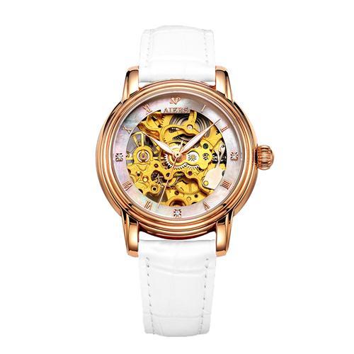 Đồng hồ cơ nữ chạm rỗng tinh xảo Aiers B202L