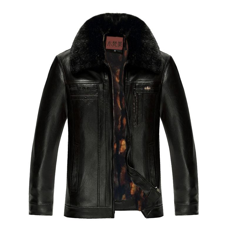 Áo khoác da nam cổ lông Men Leather