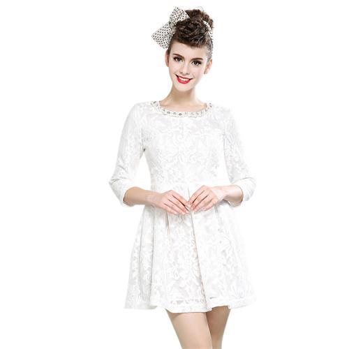 Váy ren xòe Bessie cổ đính ngọc trai