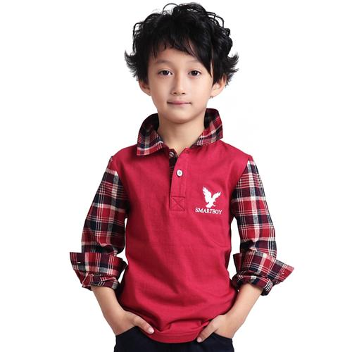 Áo henley shirt bé trai phối họa tiết caro Tiger Mini