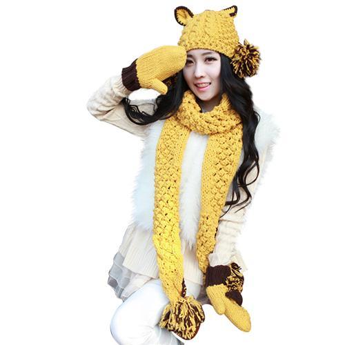 Bộ mũ, khăn, găng tay len nữ tai mèo siêu cute