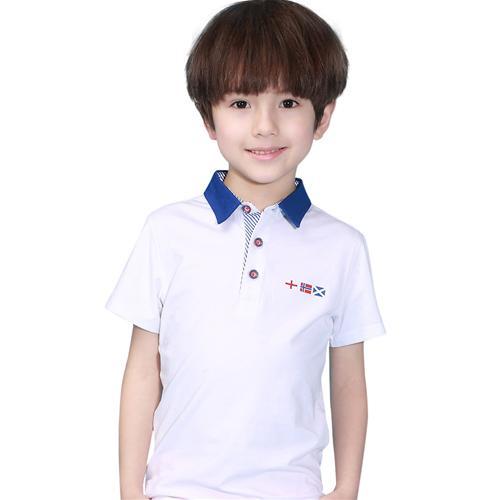 Áo T-shirt cổ bẻ bé trai Lobell