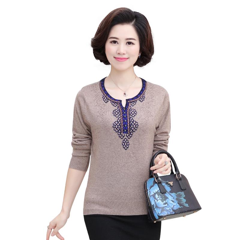 Áo len nữ trung niên cổ tròn phối họa tiết SMT